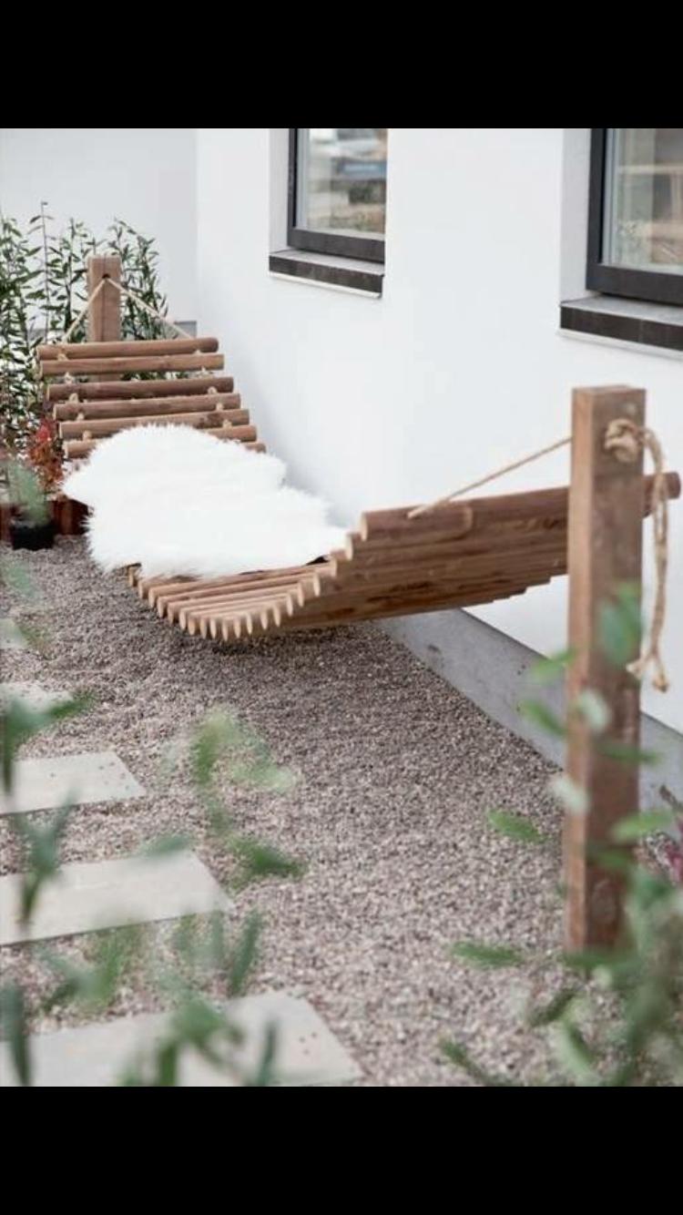 A wooden permanent hammock hout in pinterest gardens