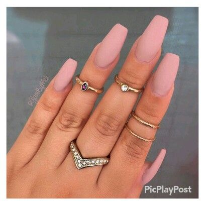 Coral Matte Acrylic Nails More