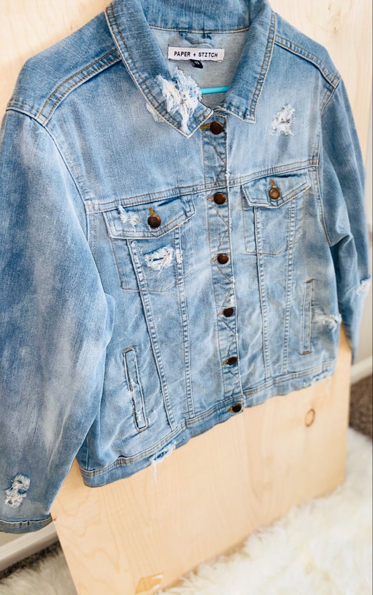 Washed Out Denim Jacket Denim Fashion Painted Denim Jacket Painted Denim [ 1200 x 753 Pixel ]