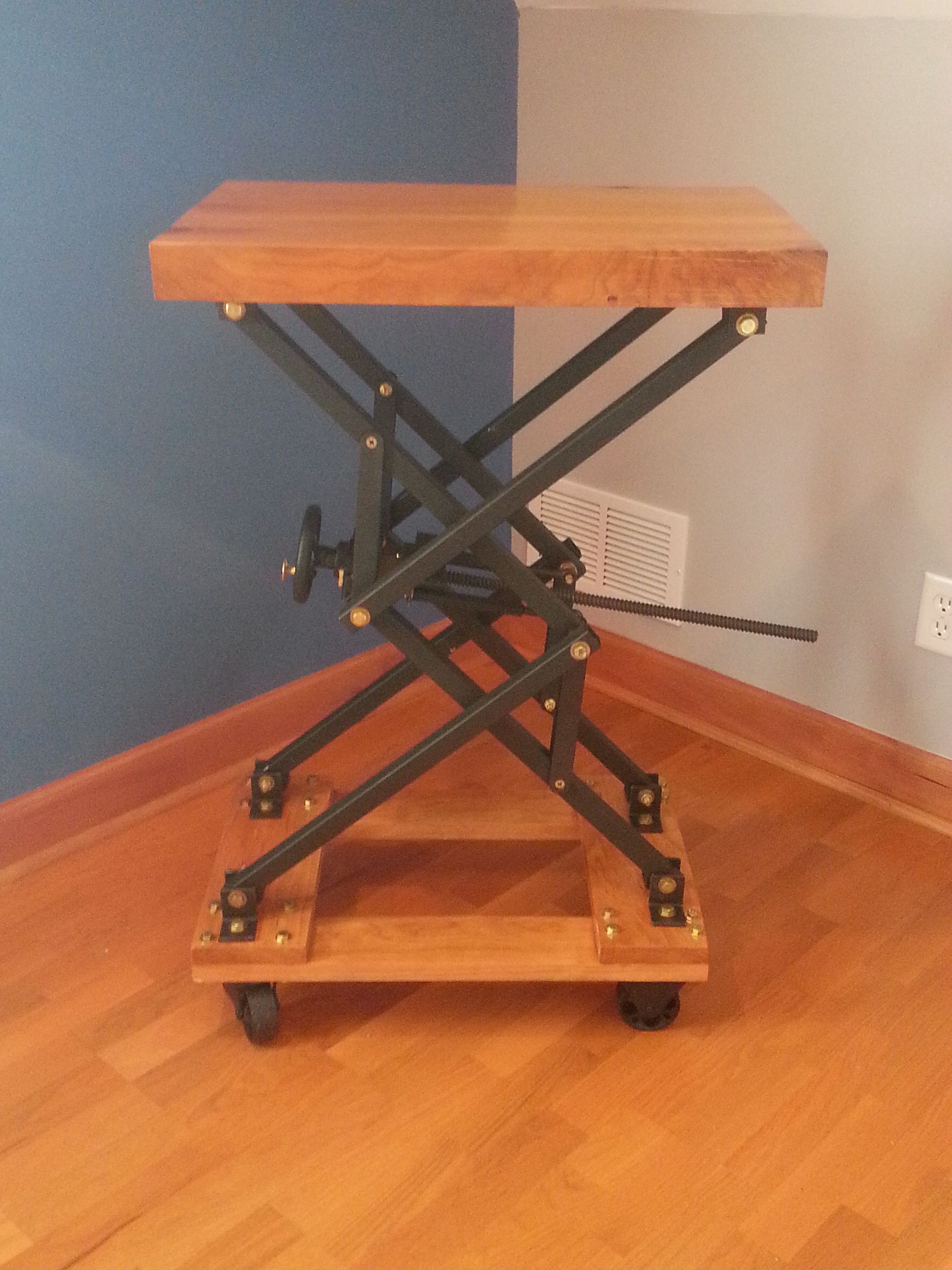I built an industrial style scissor lift end table with a lot of i built an industrial style scissor lift end table with a lot of brass bolts geotapseo Choice Image