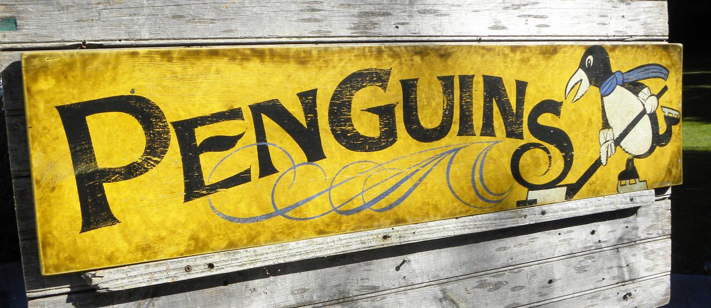 Pittsburgh penguin sign hand painted wood original faux antique vintage wall hangingart via etsy