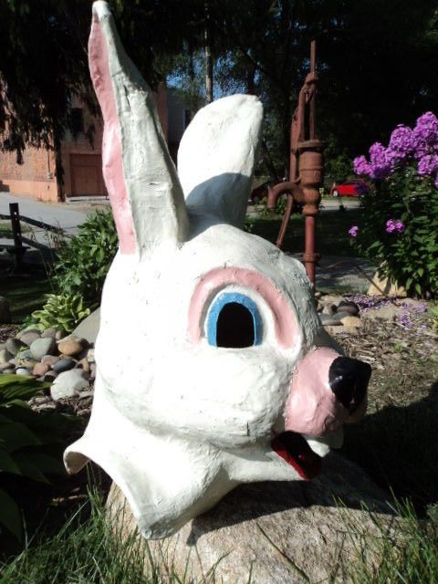 VINTAGE PAPER MACHE EASTER BUNNY RABBIT COSTUME HEAD