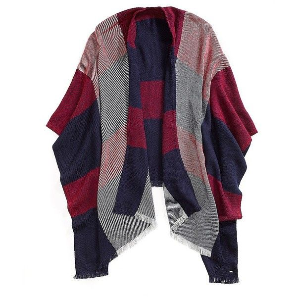 Tommy Hilfiger Plaid Cape (620 ARS) ❤ liked on Polyvore featuring outerwear, fringed cape, blue cape, tommy hilfiger, plaid capes and tartan cape coat