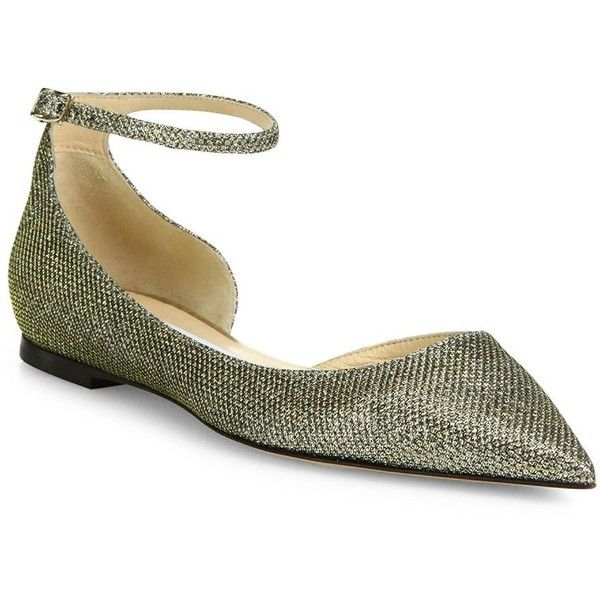 Jimmy Choo Lucy Lame Glitter Ankle-Strap Flats (30,555 DOP) ❤ liked on