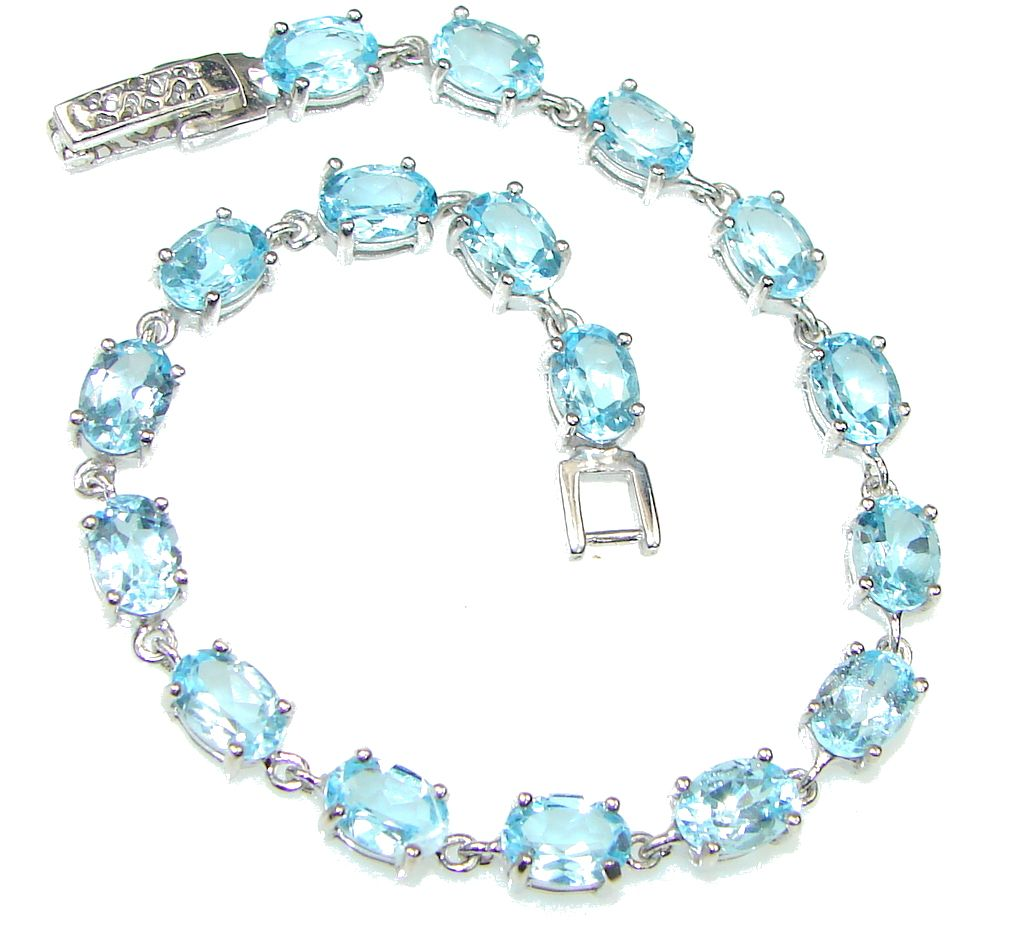 $71.25 Genuine! Natural Blue Topaz Sterling Silver Bracelet at www.SilverRushStyle.com #bracelet #handmade #jewelry #silver #topaz