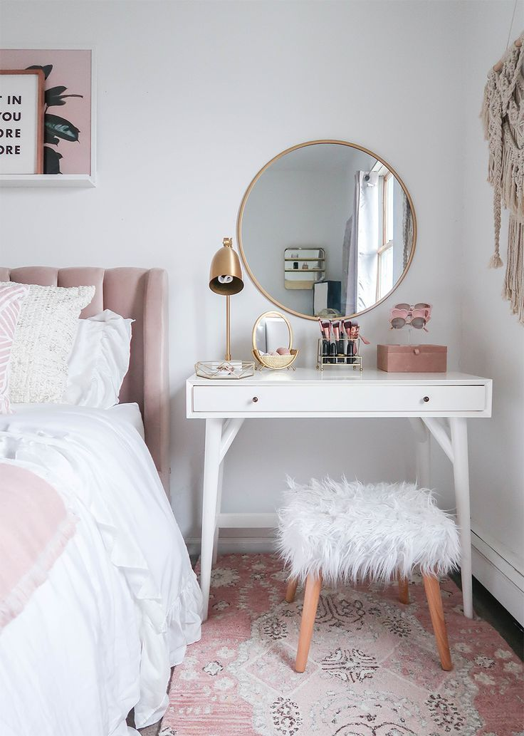 Styling A Vanity In A Small Space  Small Space  Vanity As a Nightstand  Blush and White Vanity  Blush and White Bedroom  Makeup Organization  Vanity Organization Money Ca...
