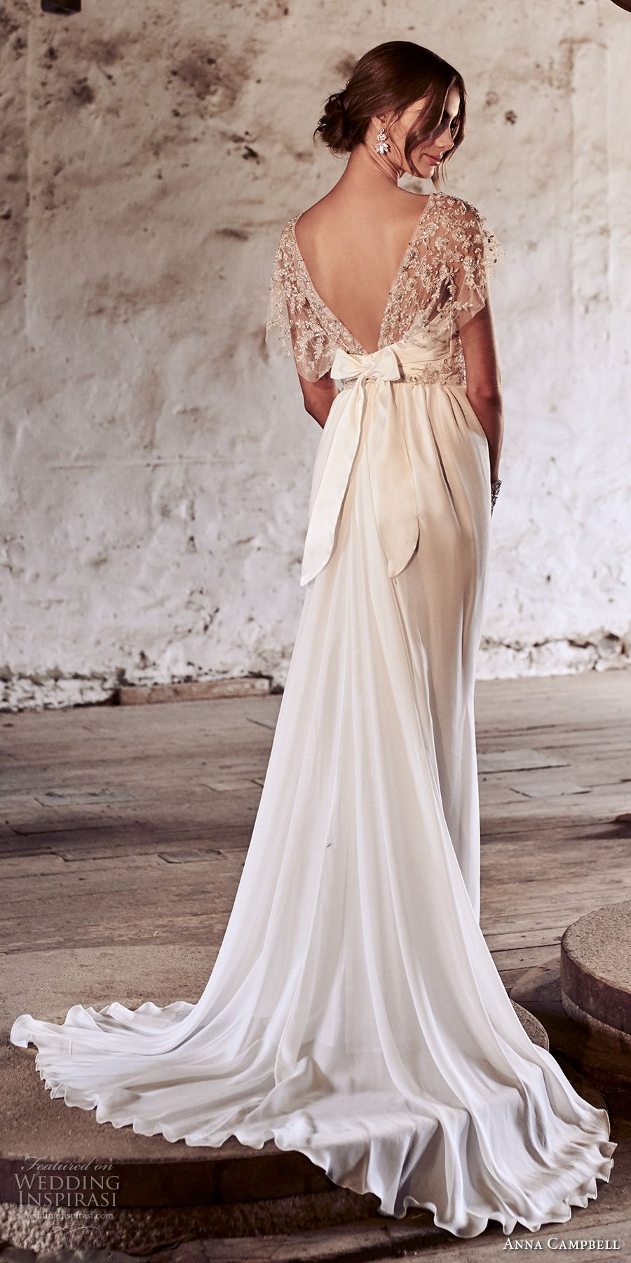 Anna campbell bridal short sleeves illusion bateau sweetheart