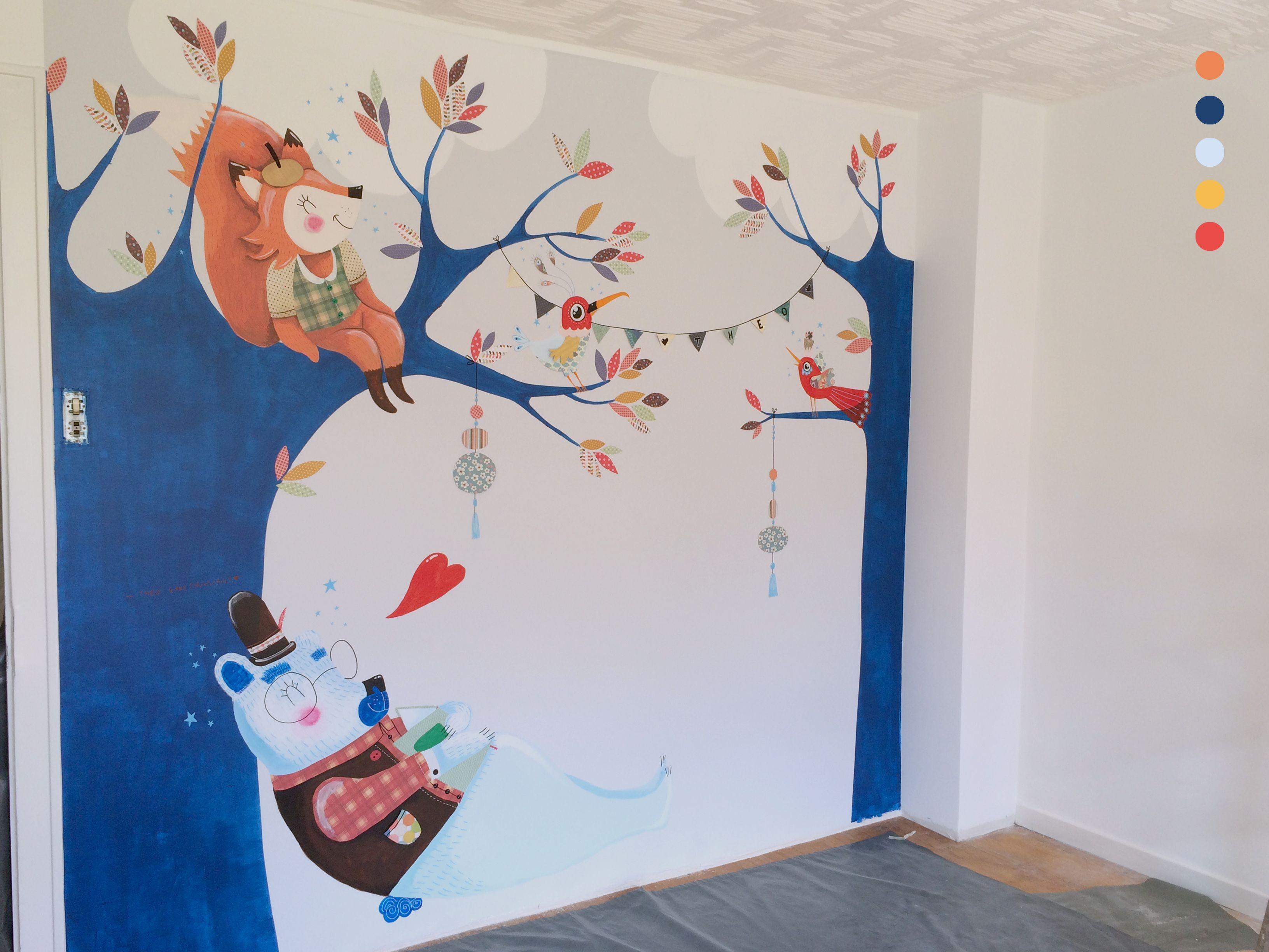 Fresque Murale Chambre d enfant Un ours fait une petite sieste  l