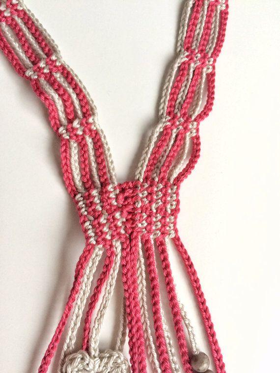 Limestone and pomegranate hearts long beaded crochet necklace ...