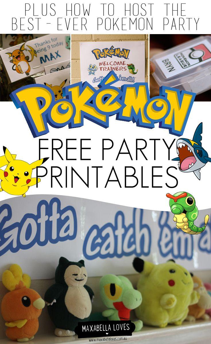 free pokemon party printables b theme pokemon pinterest anniversaire pokemon. Black Bedroom Furniture Sets. Home Design Ideas