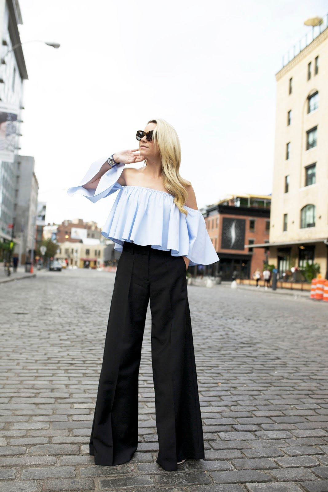 cropped ruffled top with dress pants