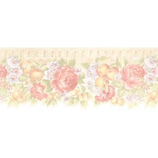 Brewster Peach Fruit Floral Border Wallpaper 499 00670 Orange