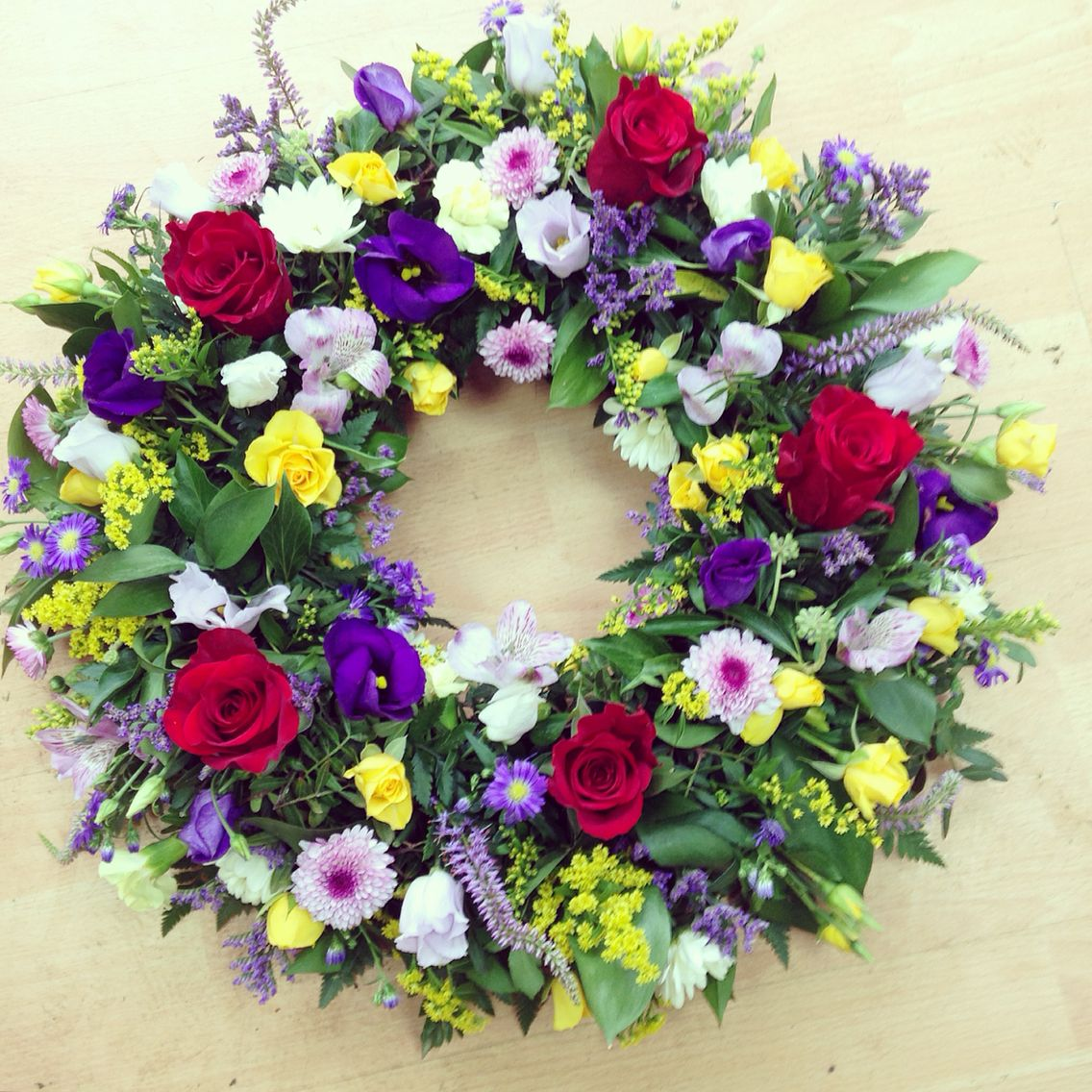 Red purples and yellows wreath