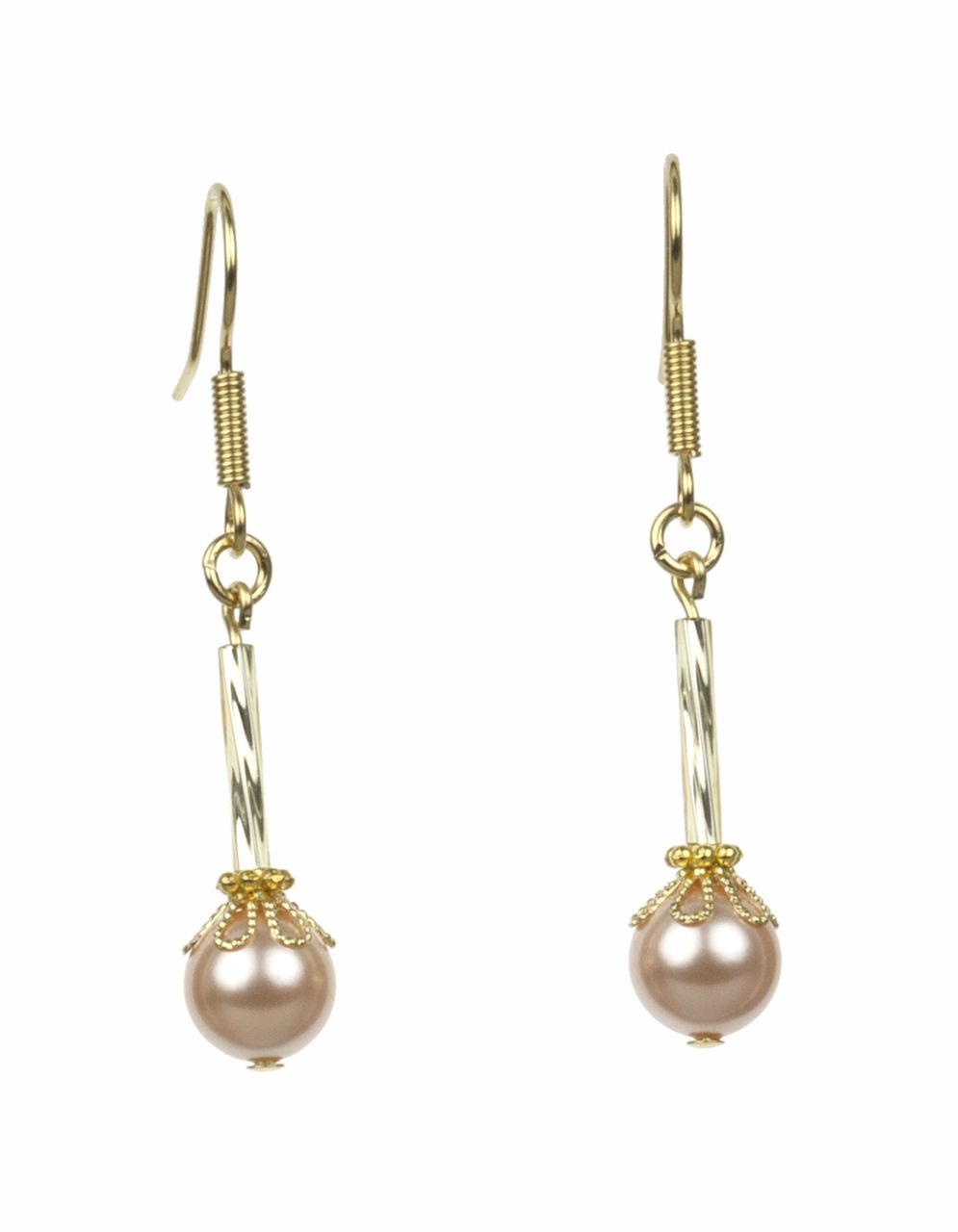 The Peach Pearls and Twisted Gold Earrings are from the Everyday Essentials Collection by Lee Buchanan Jewelry. Lovely, soft Swarovski Peach Pearls are paired with Twisted Gold Bugle Beads, Gold Rondelles and Gold Flower Bead caps. These earrings sparkle! You'll want to add our Peach Pearls and Twisted Gold Earrings to your jewelry collection today or give as a gift. All Lee Buchanan Jewelry comes in a white gift box with a gold bow.