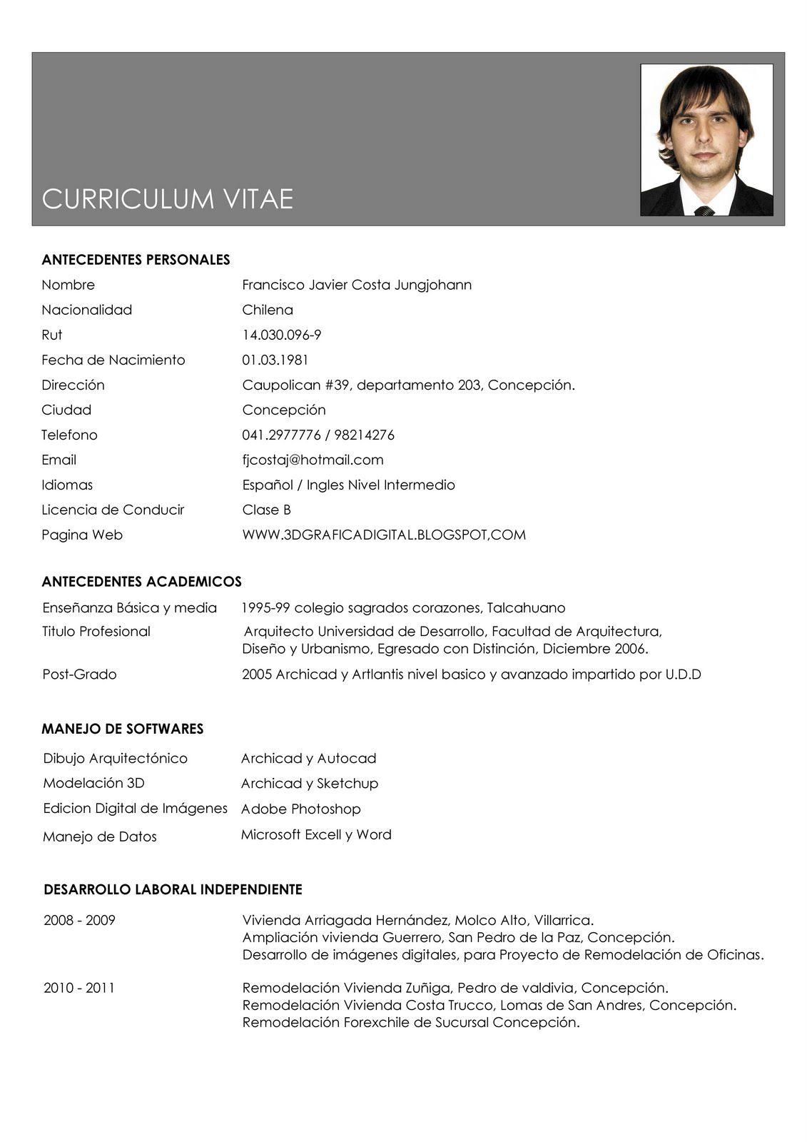 Resultado de imagen para modelo de curriculum vitae 2013 | notas ...