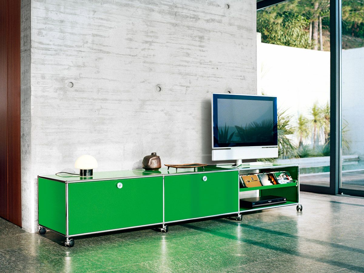 USM Haller media unit in USM green with drop-down doors. www.usm.com ...