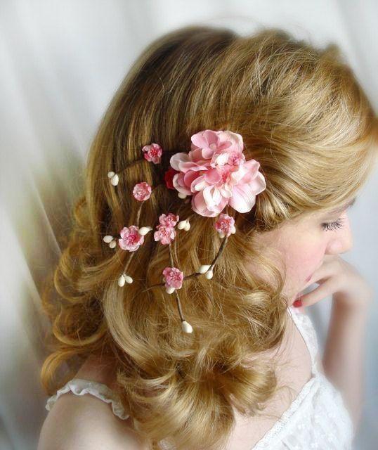 Cherry Blossom Hair Accessories Sakura Pink Bridal Flower Hair Clip 55 00 Via Etsy Bridal Hair Flower Clip Pink Flower Hair Clip Pink Flower Hair