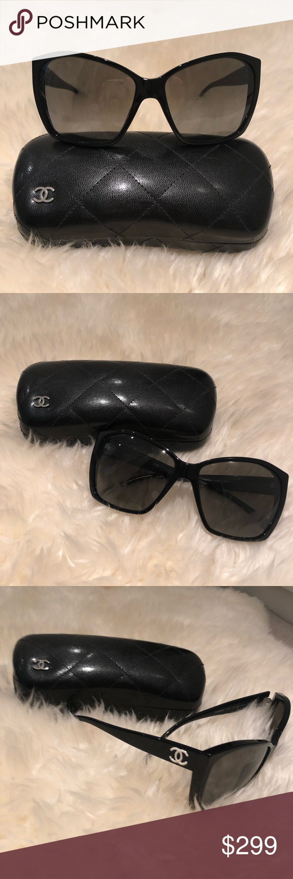 bfc7948e3d57b Black Chanel 5203 Glitter Sunglasses Chanel glitter collection (glitter on  lenses) angular cat sunglasses in black. Great condition