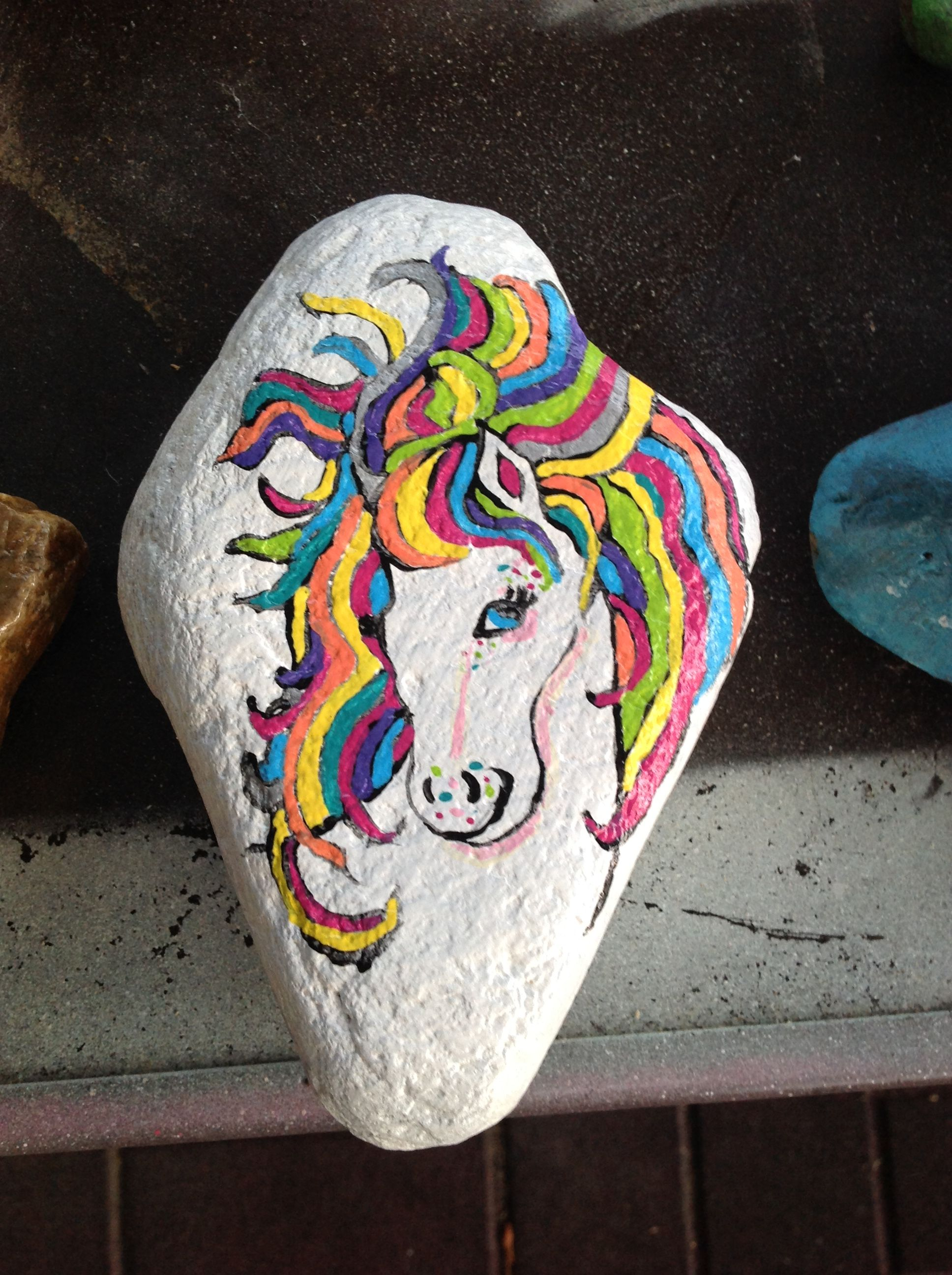 Rainbow Brite Horse Painted On Rock