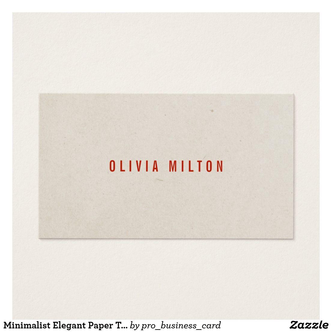 Minimalist Elegant Paper Texture Red Consultant Business Card ...