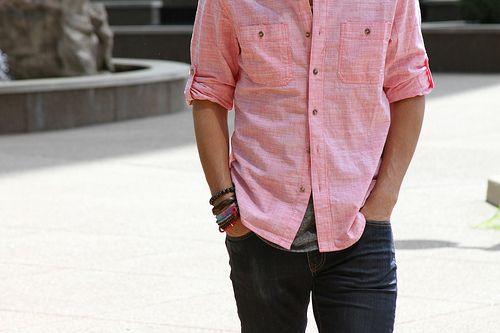 Men's Pink Chambray Long Sleeve Shirt, Black Jeans   Male fashion ...