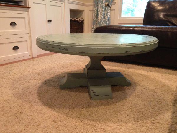 paint: annie sloan duck egg; round, pedestal coffee table ...