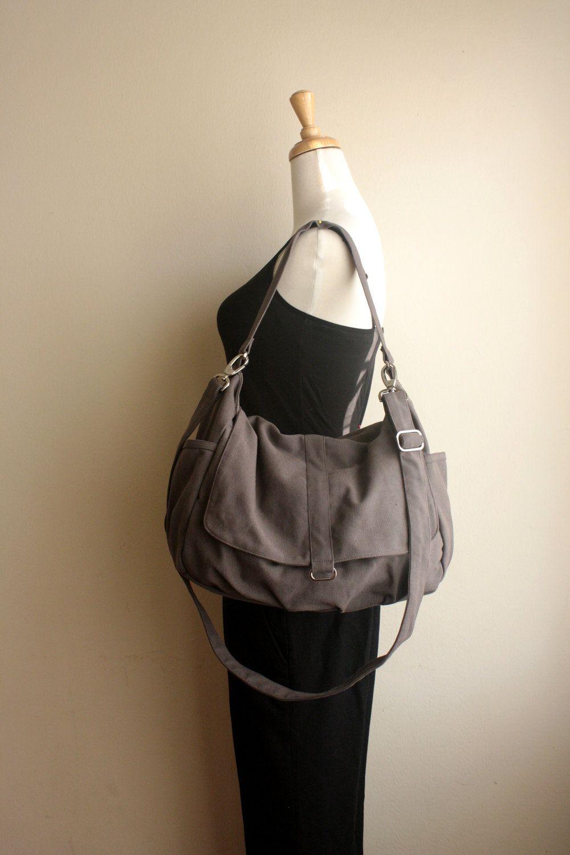 e1a45d28d29f6 Gray Messenger diaper bag,Cross body laptop canvas bag ,Eco women ...