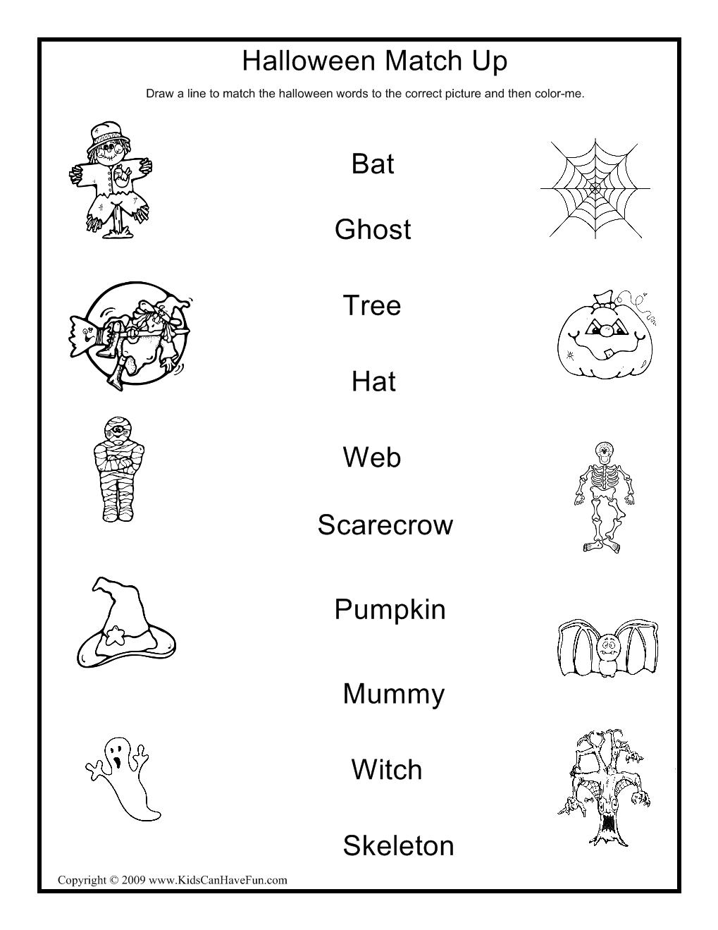 Halloween Match Up Activity | Halloween Activities, Crafts, Games ...