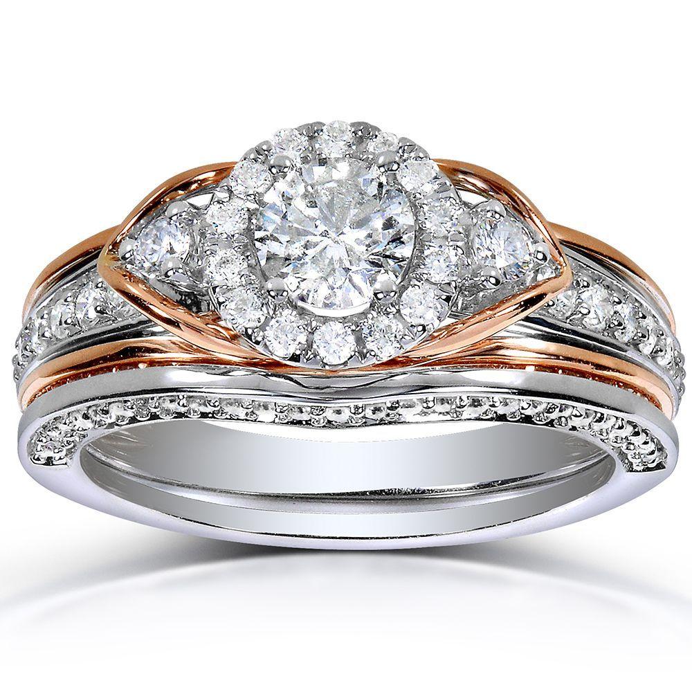 Annello 14k Two Tone Gold 1ct TDW Round Cut Halo Diamond Bridal