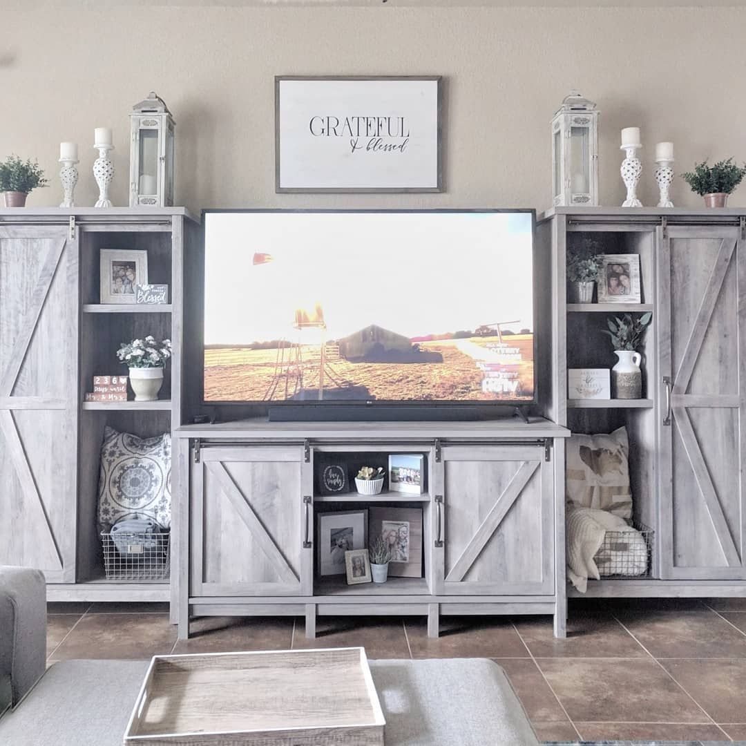 """Better Homes & Gardens Modern Farmhouse TV Stand for TVs up to 70"""", Rustic Gray Finish - Walmart.com"""