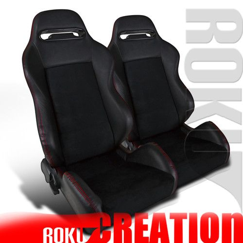 90-01 02-06 INTEGRA RSX TYPE BLK LEATHER RACING SEATS R\ I