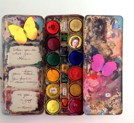 Mixed Media Altered Art Antique Watercolor Paint Tin Paint Box