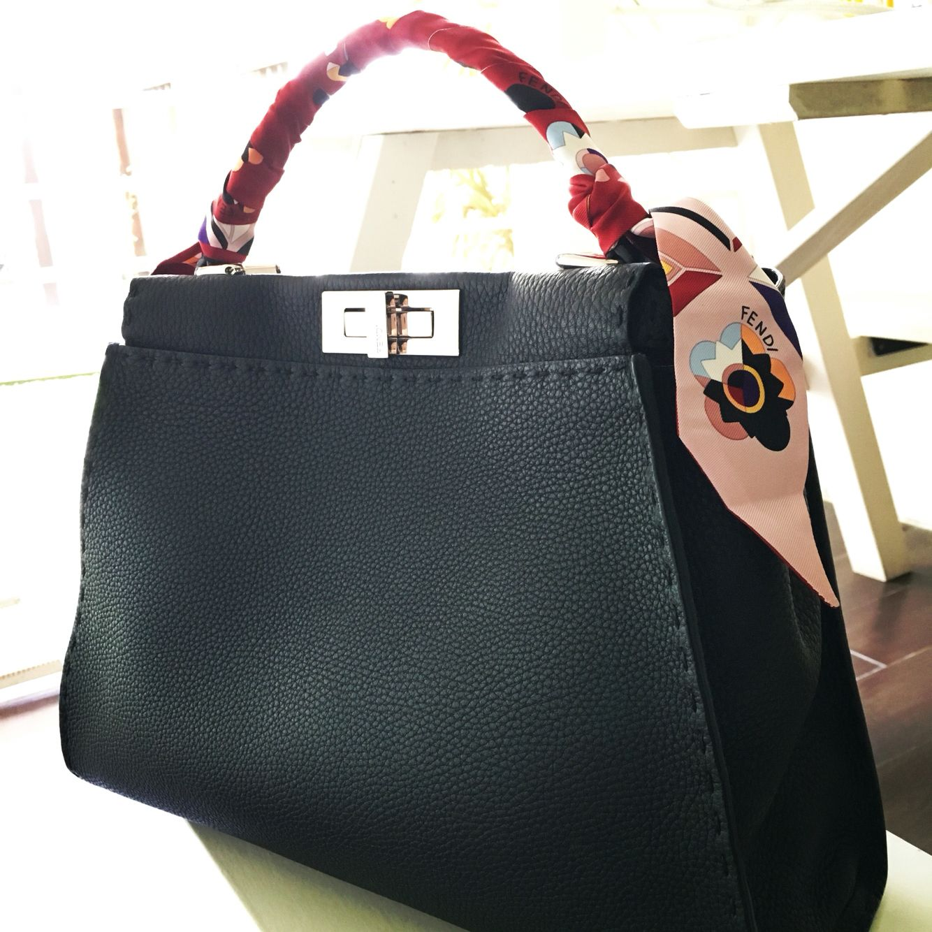 My new Fendi Peekaboo Selleria in Small with a floral Fendi wrappy    twilly!!! 5977c32ee06a9