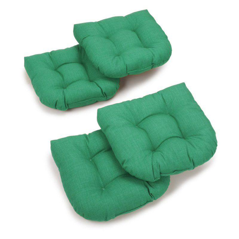 Blazing Needles Reo Solid U-Shaped Outdoor Chair Cushion - Set of 4 Emerald - 93184-4CH-REO-SOL-14