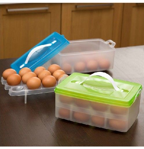 New Portable Plastic Egg Carton Storage Box Container Carrier Holder Case Two Layer Can Put 24 Eggs E999 Vegetable Boxes Egg Storage Cooking Supplies