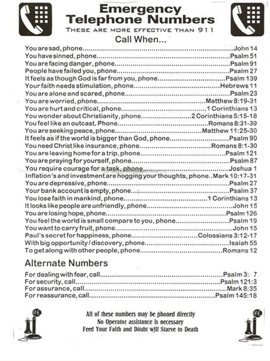emergency phone numbers of the Spirit | BIBLE EMERGENCY NUMBERS ...