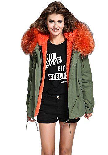 b11a56f2ee833 Melody Women s XXL Army Green Large Raccoon Fur Collar Hooded Parkas Coat  Winter Jacket ...