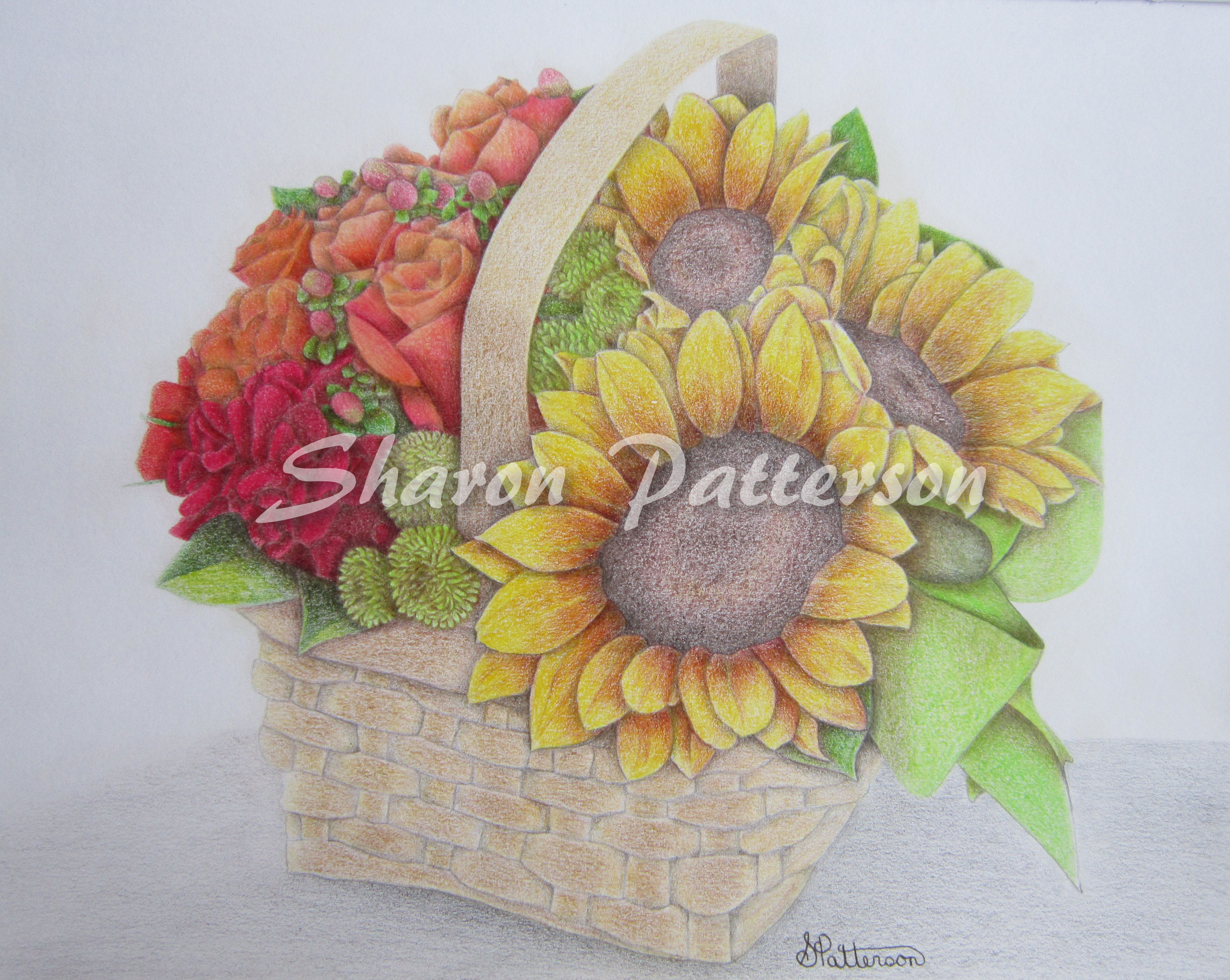 Drawing of flowers in a basket in coloured pencil on paper. Artwork by Sharon Patterson may be PURCHASED at: http://1-sharon-patterson.fineartamerica.com