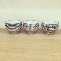 Coffret de 6 bols japonais rayures noires