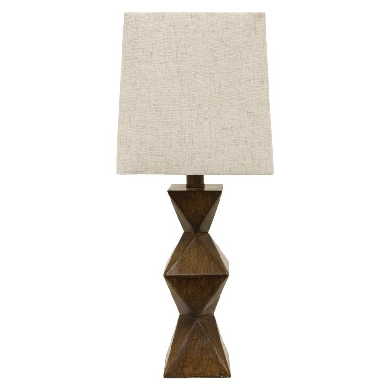 Rustic Meets Modern To Create This Shapely Chambray Stacked Diamond 20 5 Quot Table Lamp The Poly Resin Ba Table Lamp Wood Decor Therapy Geometric Table Lamp