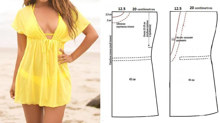 Vestido playero modelo túnica con patrones para todas las tallas ...