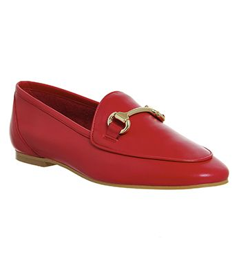 2d5d559436d Office Dapper Trim Loafers Red Leather - Flats