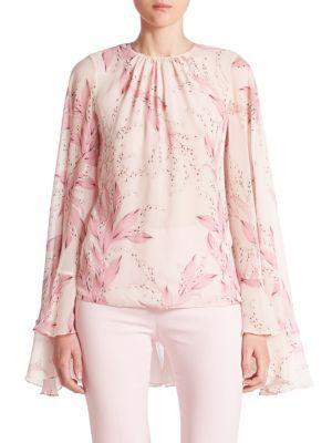 GIAMBATTISTA VALLI Long-Sleeve Silk Cape Blouse. #giambattistavalli #cloth #blouse