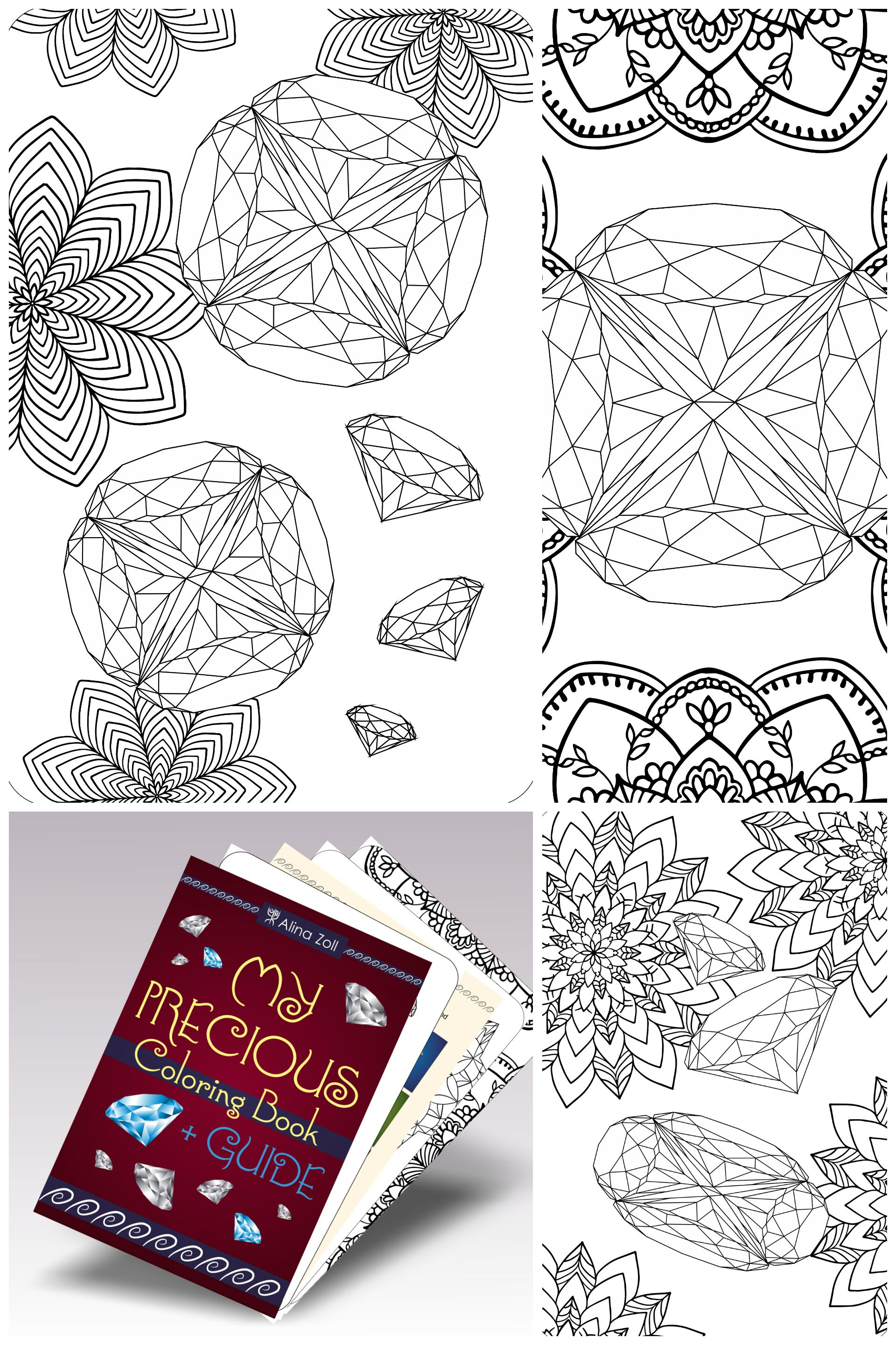 Gem Coloring Pages, Crystal Adult Coloring Book PDF