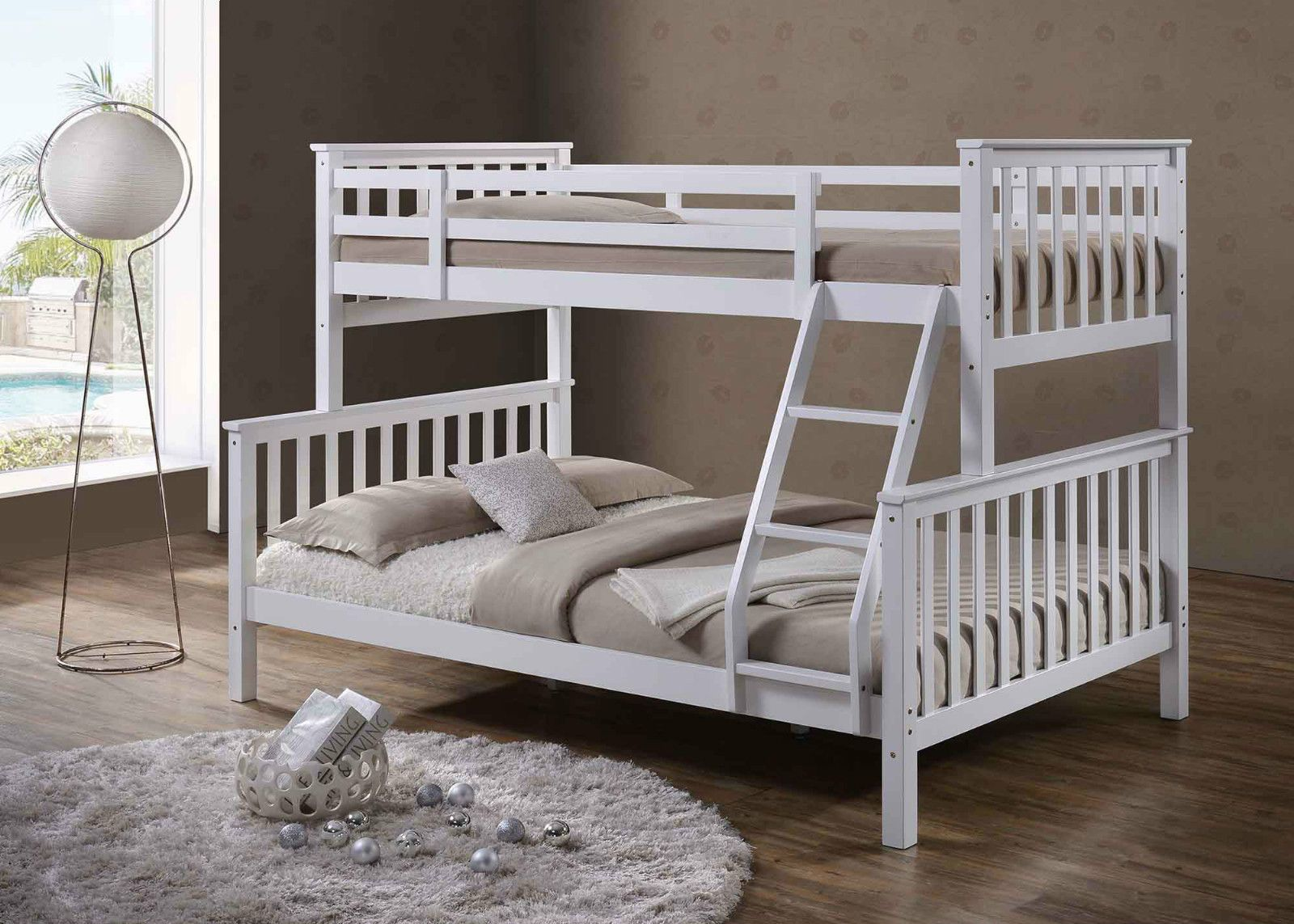 White Solid Wooden Wood Pine Triple Sleeper Bunk Bed Double Single Size In Home Furniture Diy Beds Mattresses Ebay