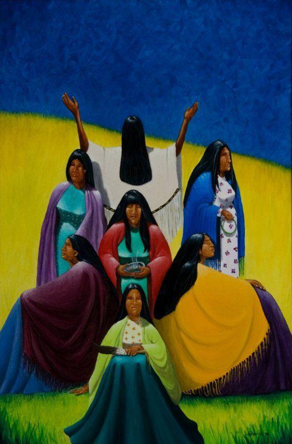 7 x 7Generations, Native American Series, honrar a la madre, 8 x 10 limitada grabado, artista Schar Freeman