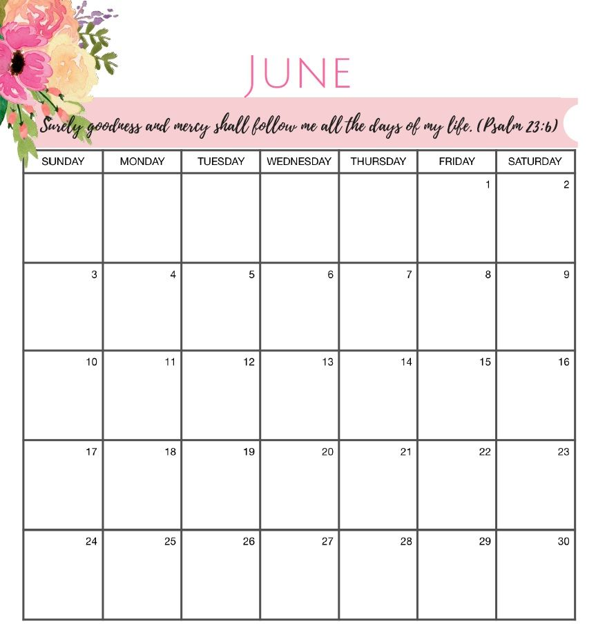 7 Beautiful June 2018 Floral Calendars Printable Free Printable