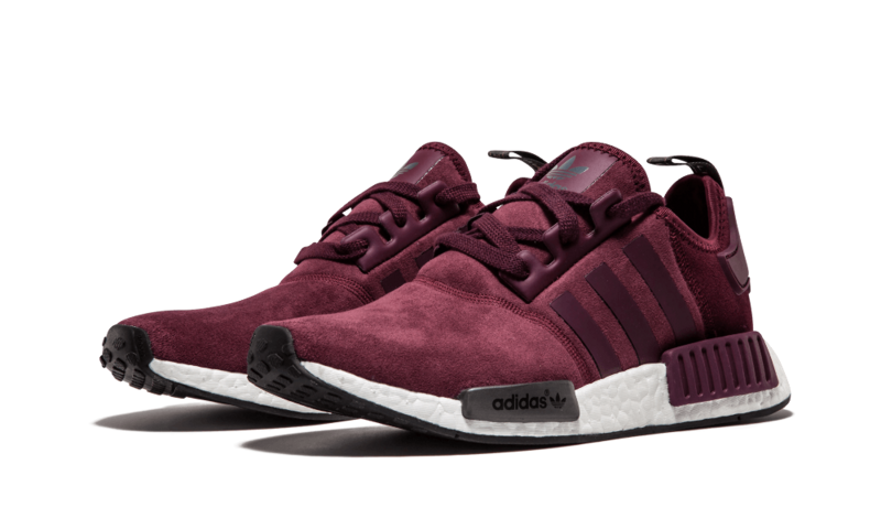 Femme Adidas NMD R1 Runner Suede W Bordeaux Marron Solide Gris S75231 b3f333a20cc