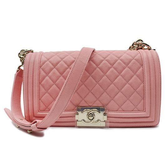 db48c257a9fa Chanel Boy On Chain Grained Gold Tone A67086 B00317 Pink Calfskin Shoulder  Bag - Tradesy