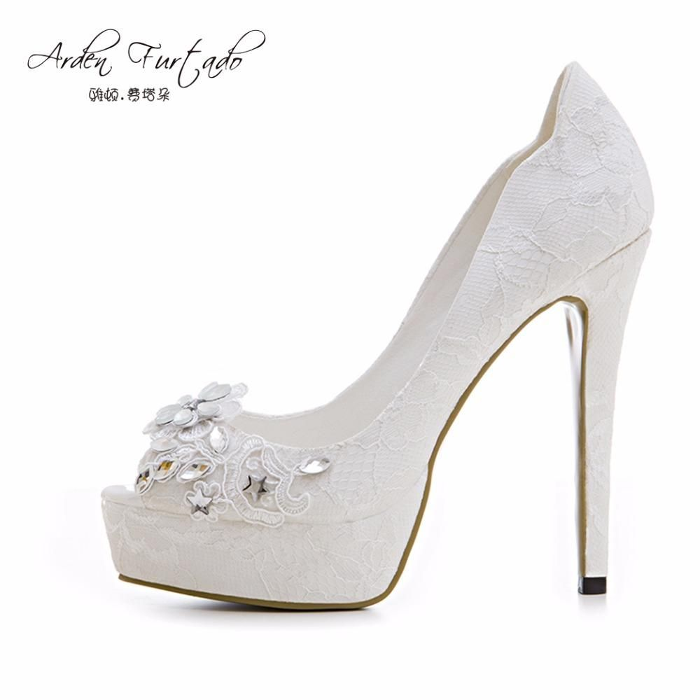 new 2017 summer peep toe platform slip on pumps plus size flower crystal rhinestone  wedding shoes for woman sexy lace high heels 7920f2a09991